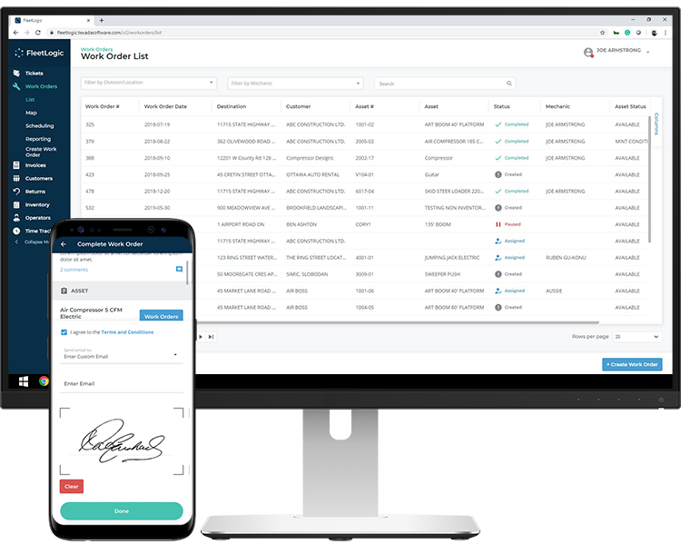 Texada Platform Mobile and Dispatch